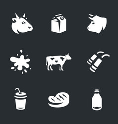 set of cow and milk icons vector image vector image