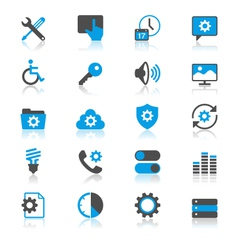 Setting flat with reflection icons vector