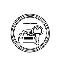 Silhouette stamp with car and key vector