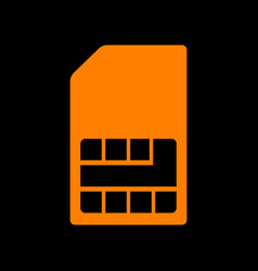 sim card sign orange icon on black background vector image