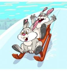 sliding rabbits vector image vector image