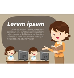 teacher presenting for computer learning vector image vector image