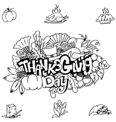 Thanks givig hand draw in doodle art vector
