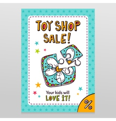 Toy shop sale flyer design with toy puzzle for vector