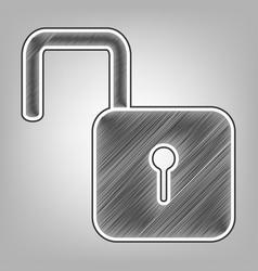 Unlock sign pencil sketch vector