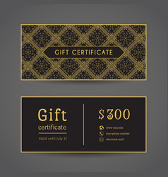 Vintage gift certificate vector