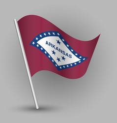 waving triangle american state flag arkansas vector image