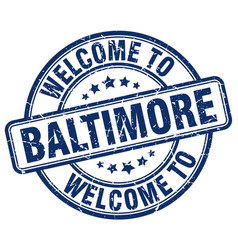 Welcome to baltimore blue round vintage stamp vector
