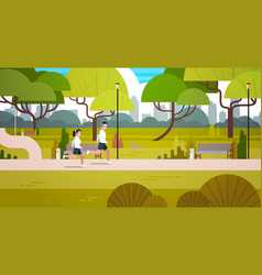 Young couple jogging outdoors in modern public vector