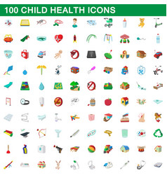 100 child health icons set cartoon style vector