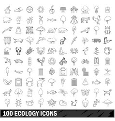 100 ecology icons set outline style vector