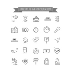Taxi thin line icons set vector