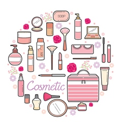 Cosmetics and beauty icons set vector