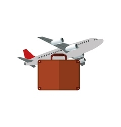 Airplane and briefcase icon vector