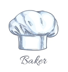 White baker toque or chef hat sketch vector