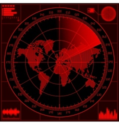 Radar screen with world map vector image