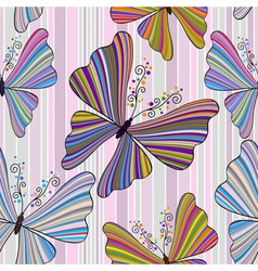 pattern with striped butterflies vector image