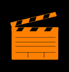 Film clap board cinema sign orange icon on black vector