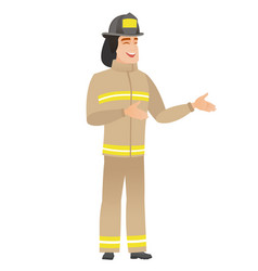 Young caucasian happy firefighter gesturing vector