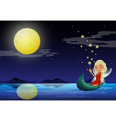 A fairy in a boat holding a wand vector