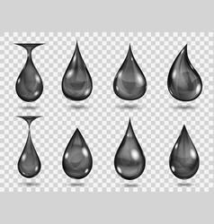 Transparent black drops vector