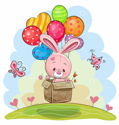 Cute rabbit with balloons vector