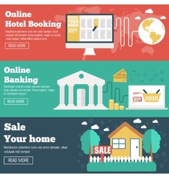 Flat set of social business travel online banking vector