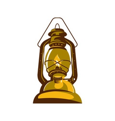 Kerosene oil lamp retro vector