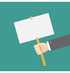 Businessman hand holding empty paper blank sign vector
