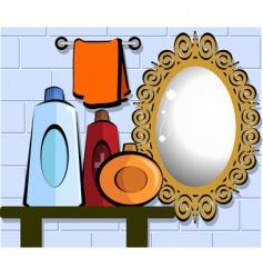 Mirror in bathroom vector