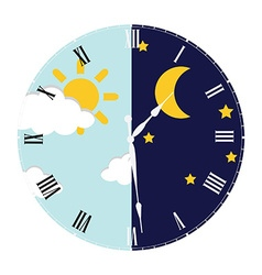 Clock day and night concept vector image