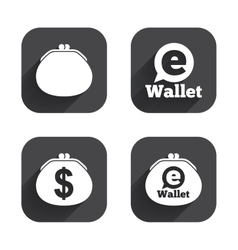 Electronic wallet icons dollar cash bag sign vector