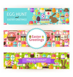 Happy easter template banners set modern flat vector