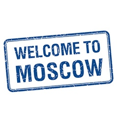 Welcome to moscow blue grunge square stamp vector