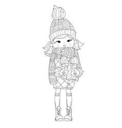 Cute girl in winter hat with christmas gift vector