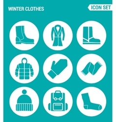 Set of round icons white winter clothes shoes vector