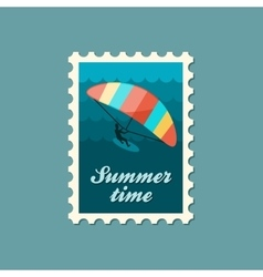 Kite boarding kitesurfing stamp vacation vector