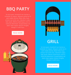 Barbecue party flyers with meats on grill vector