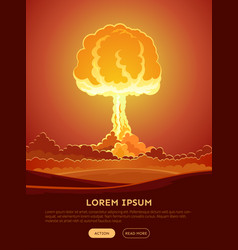 bright nuclear explosion poster vector image