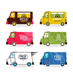 Bus delivery set vector image