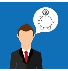cartoon business man piggy save money vector image vector image