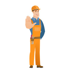 Caucasian builder showing palm hand vector