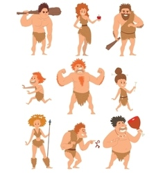 Caveman primitive people cartoon action vector image