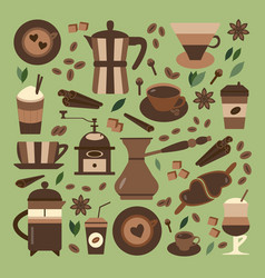 Coffee house and shop icon set vector