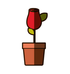 Colorful shading drawing red rosebud with leaves vector