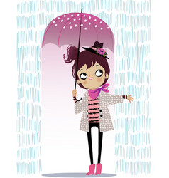 cute autumn girl with umbrella vector image vector image