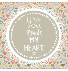 decorative pattern with hearts and quote vector image