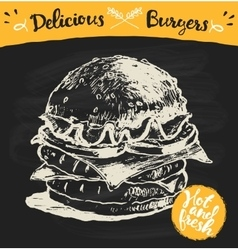 Drawn burger hamburger sketch vector image