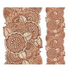 Indian henna tattoo style floral vertical vector