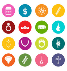 jewelry items icons many colors set vector image